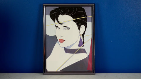 Vintage 1980s Patrick Nagel Poster in Frame Small