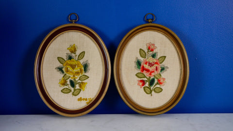 Vintage Mid Century Rose Crewel Pair Needlepoint Red Pink Yellow Oval Frame