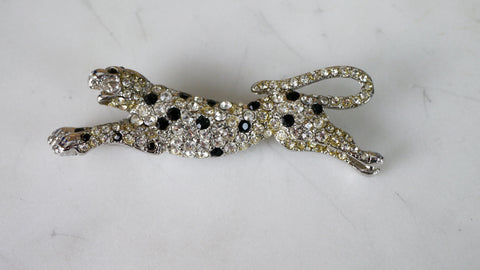 Vintage 1980s KJL Leopard Brooch Kenneth Jay Lane Cheetah