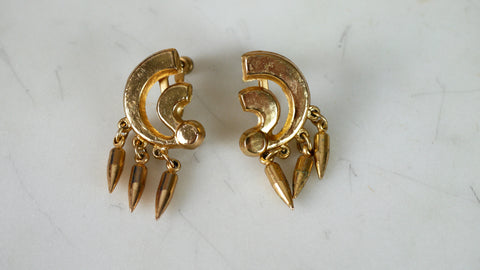 Vintage 1940s Earrings Modernist Gold Geometric Minimal Screw Back