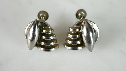 Vintage 1940s Modernist Screw Back Earrings Screwback silver tone metal