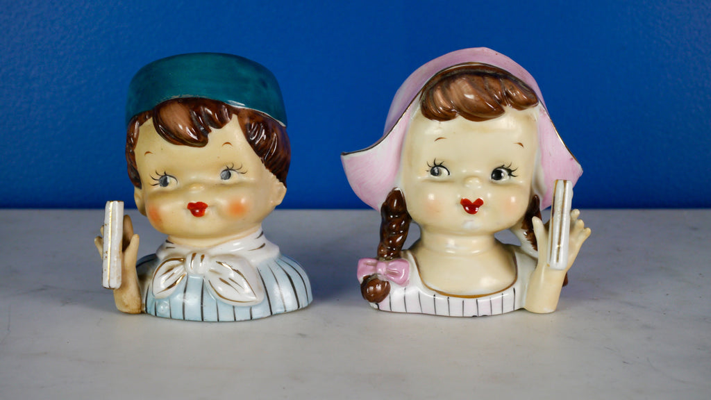 Vintage 1950s Head Vase Planter Pair Boy and Girl Blue and Pink