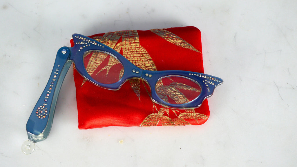 Vintage 1950s Lorgnette Cat Eye Magnifiers Reading Glasses Folding Cheaters Blue Rhinestone