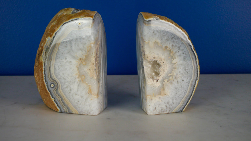 Vintage Geode Bookends Agate Quartz Blue Gray