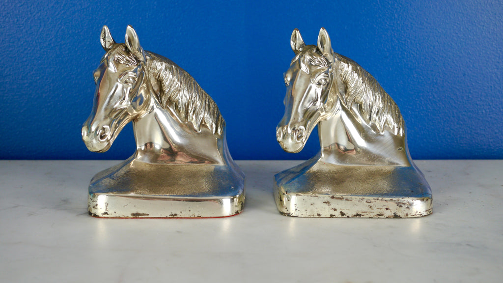 Vintage Mid Century Horse Head Bookends PM Craftsman