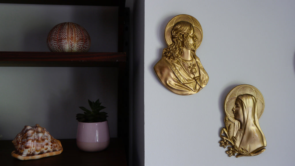 Vintage 1960s Mary and Jesus Wall Plaques Brass