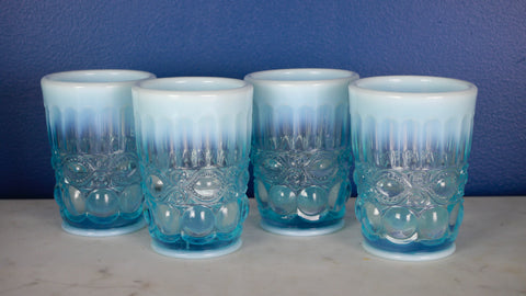 Vintage 1960s Mosser Opalescent Blue Glass Eye Winker Tumbler Glasses set of 4