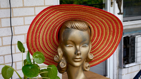 Vintage Red Striped Straw Hat Woven Bow Sun Hat Wide Brim Italy Macys Jennifer Moore