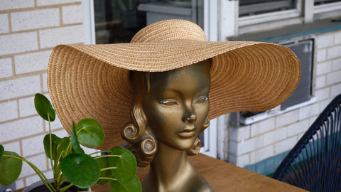 Vintage Large Straw Hat Woven Bow Made in Italy Macys Floppy