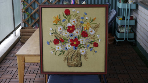 Vintage Flower Crewel Needlepoint Large