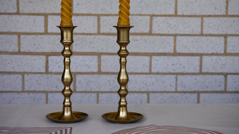Vintage Pair Brass Candlestick Holders Candle Holder