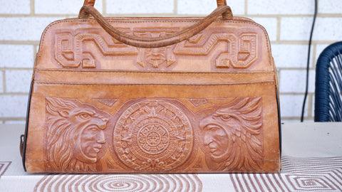 Vintage 1960s Tooled Brown Leather Purse Handbag Mayan Mexico Mont Abur