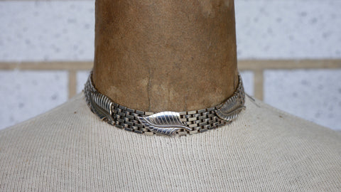 Vintage Mid Century Leaf Choker Necklace Silver Wide Chain