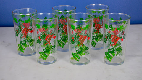 Mid Century Hazelware Bell Glasses Christmas Holiday set of 6 Hazel Atlas