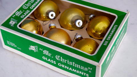 Vintage Gold Bulb Ornaments in Box Set of 6 Mr Christmas Made in USA