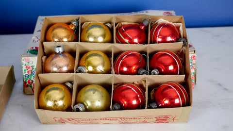 Mid Century Christmas Ornaments Bulbs in box red gold striped Doubl Glo