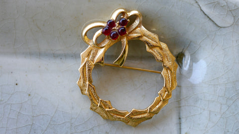 Vintage Monet Wreath Brooch Gold Tone Faux Red Ruby