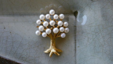 Vintage Crown Trifari Tree Brooch Faux Pearls and Gold Tone Metal