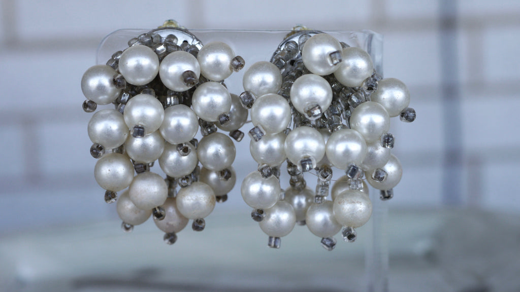 Vintage Mid Century Faux Pearl Cluster Clip on Earrings