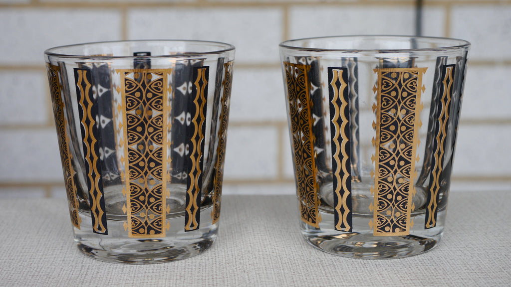 Mid Century Rocks Lowball Glasses Black Gold Pair 2