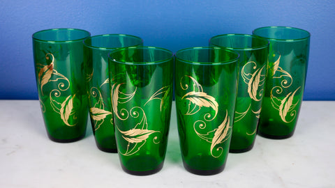 Mid Century Anchor Hocking Green Gold Leaves Tumbler Glasses Set of 6 or 12