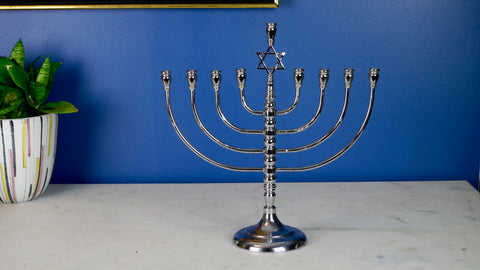 Vintage Menorah Chrome Tall Silver Marked R.C.