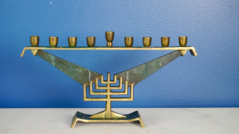 Mid Century Menorah Brass Green Made in Israel Verdigris