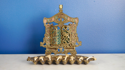 Mid Century Oil Menorah Brass Doors Tribes of Israel Doors