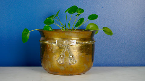 Vintage Brass Bow Planter Flower Pot