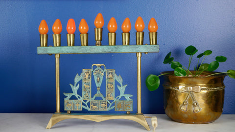 Mid Century Menorah Electric Brass Green Verdigris works