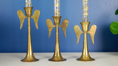 Vintage Brass Angel Candlestick Candle Holders Set of 3