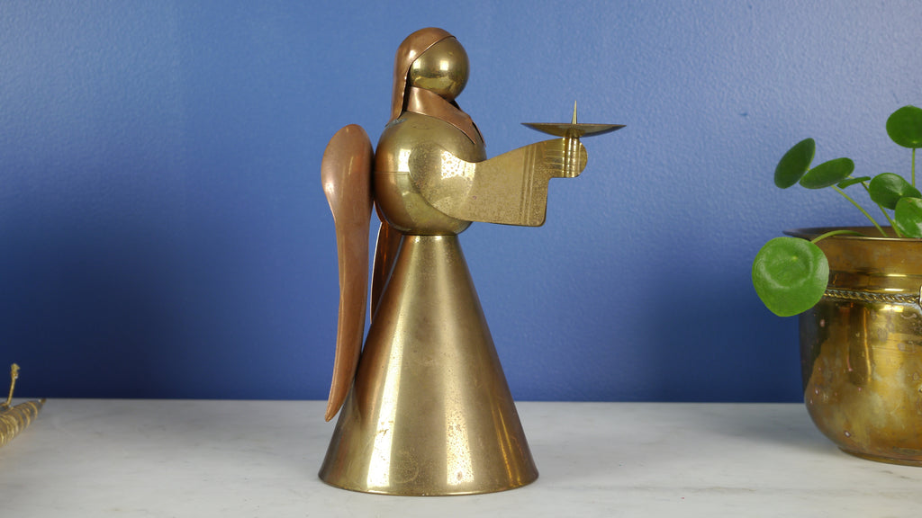 Vintage Angel Candlestick Candle Holder Brass and Copper ADG Hong Kong