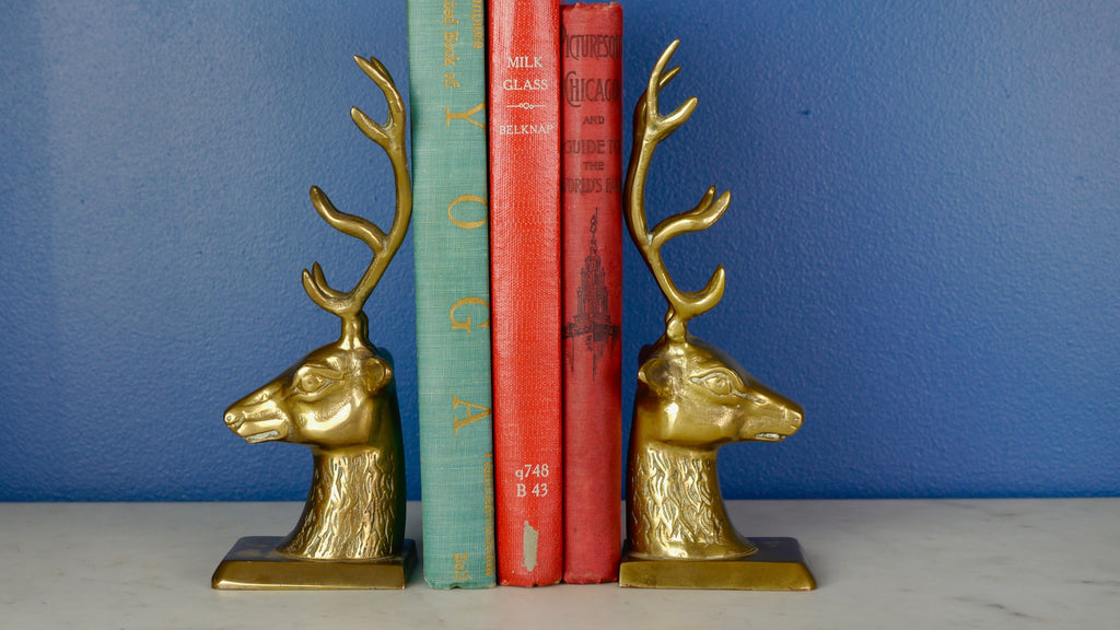 Vintage 1970s Brass Stag Deer Head Bookends