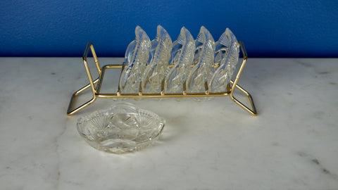 Mid Century Personal Ashtray Set Bohemia Czech Crystal Glass Brass Holder