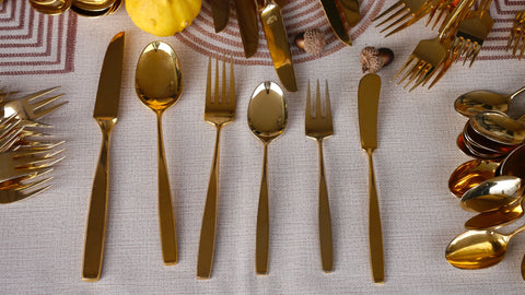 Mid Century gold plated stainless steel flatware 74 piece silverware Ron Flite Japan