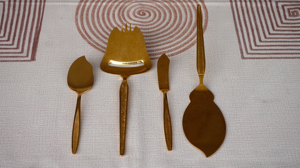 Mid Century Royalton Antigua Gold Serving Set