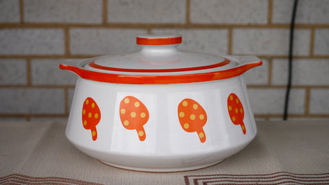 Vintage 1970s Mushroom Stoneware Casserole Dish Japan Orange