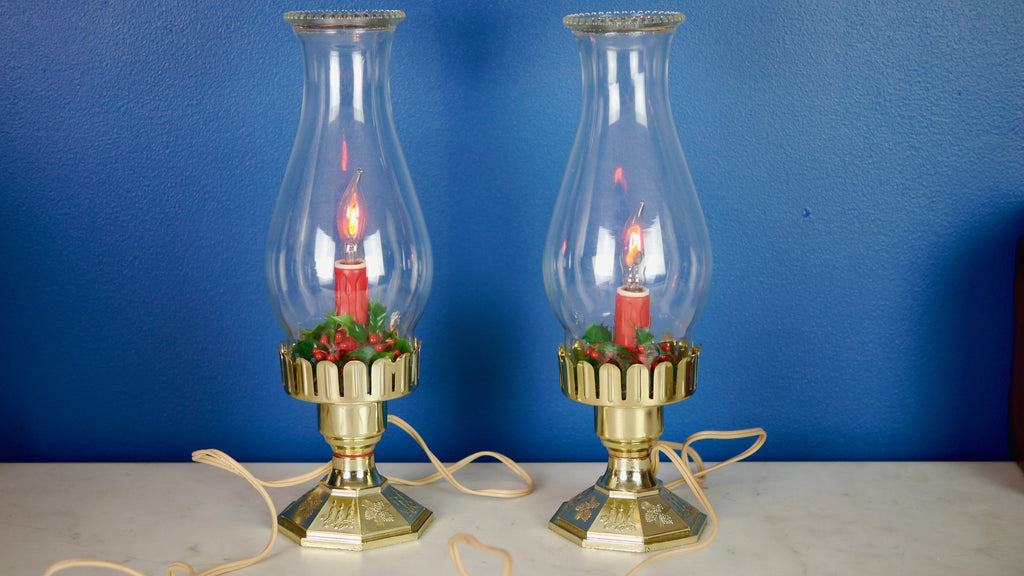 Vintage 1970s Noma Christmas Lantern Lamps with Holly and Flame Bulb set of 2