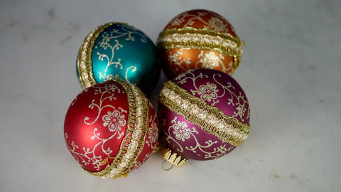 Vintage Krebs Christmas Ornaments 4 Glitter Ribbon Jewel Tones red blue orange purple