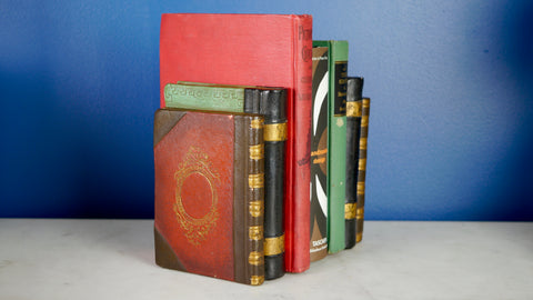 Mid Century Chalkware Plaster Bookends Faux Books