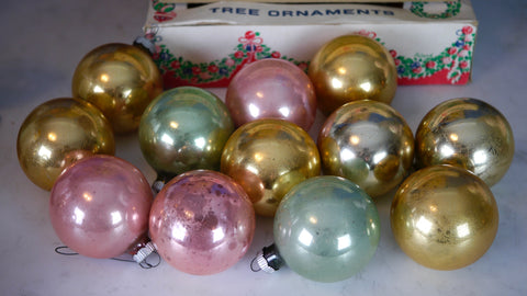 Mid Century Christmas Ornaments Shiny Brite USA 12 Pastel Pink Blue Gold