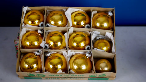 Mid Century Gold Christmas Ornaments Shiny Brite Bulbs 12