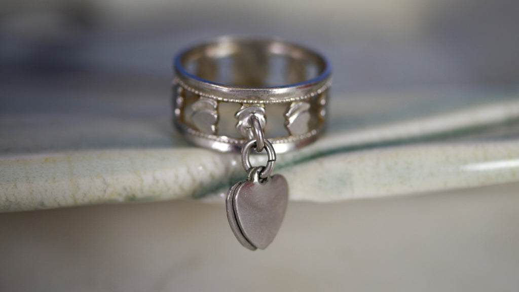 Vintage Sterling Silver Heart Charm Ring