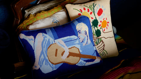Vintage 1970s Throw Pillow Needlepoint Man Guitar Player