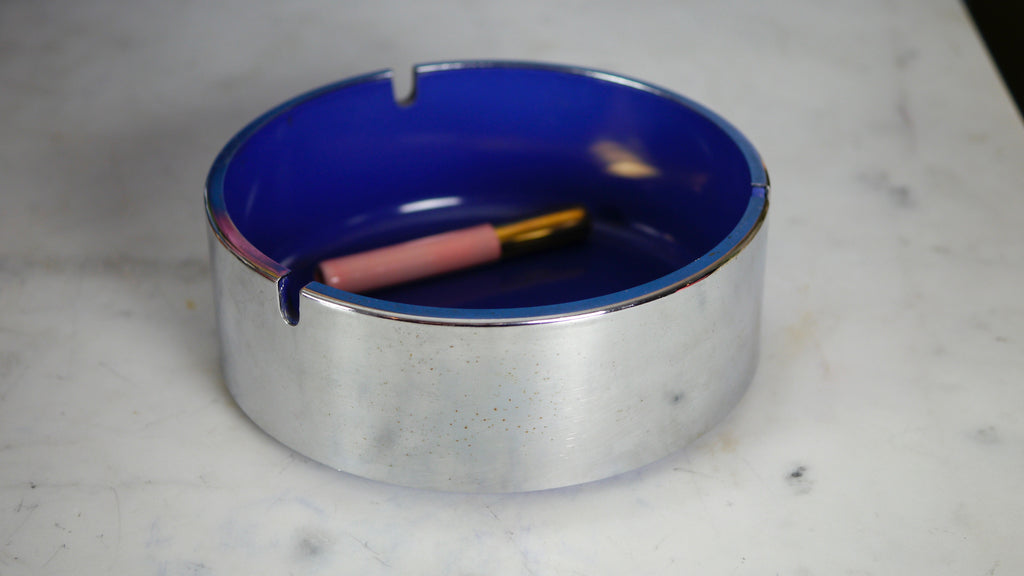 Vintage 1960s Chrome Blue Ashtray Trend Pacific Maru Large Isamu Kenmoshi