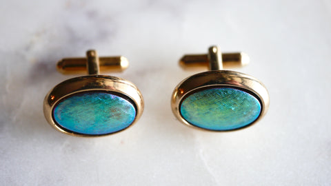 Mid Century Hickok Cufflinks Iridescent Green Blue