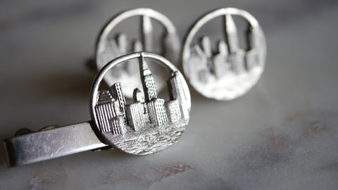 Mid Century Swank New York Skyline Cufflinks Tie Clip NYC Cuff Links