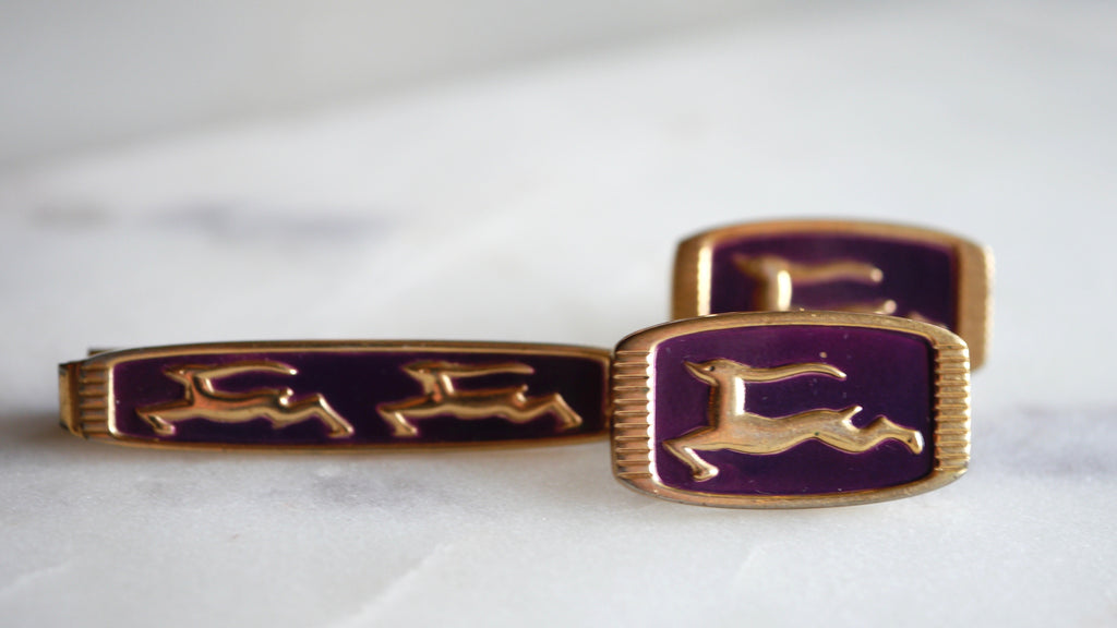 Mid Century Anson Cuff Links and Tie Bar Clip Set Gazelle Purple Gold