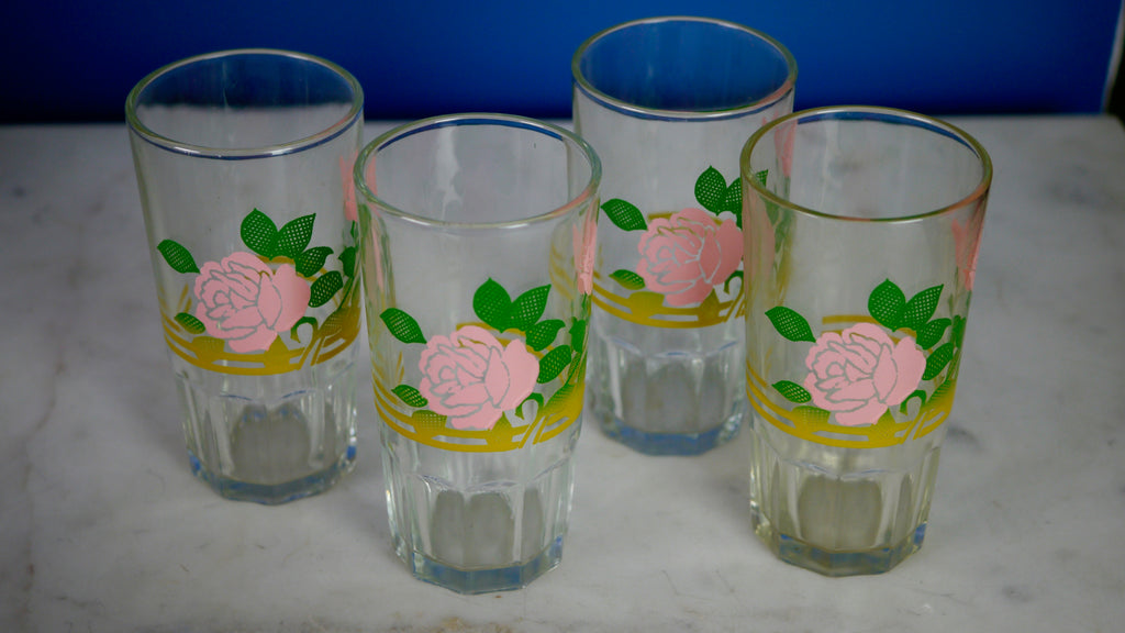 Mid Century Pink Rose Juice Glasses Set of 4