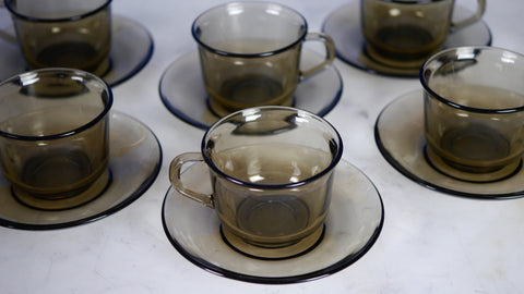 Vintage Arcoroc France Espresso Mugs Saucers Smoky Grey Glass set of 6